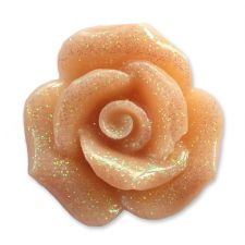 20mm CARAMEL Glitter Rose Resin Flatback Cabochon